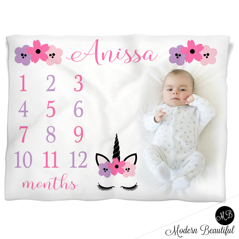 baby girl unicorn baby name blanket