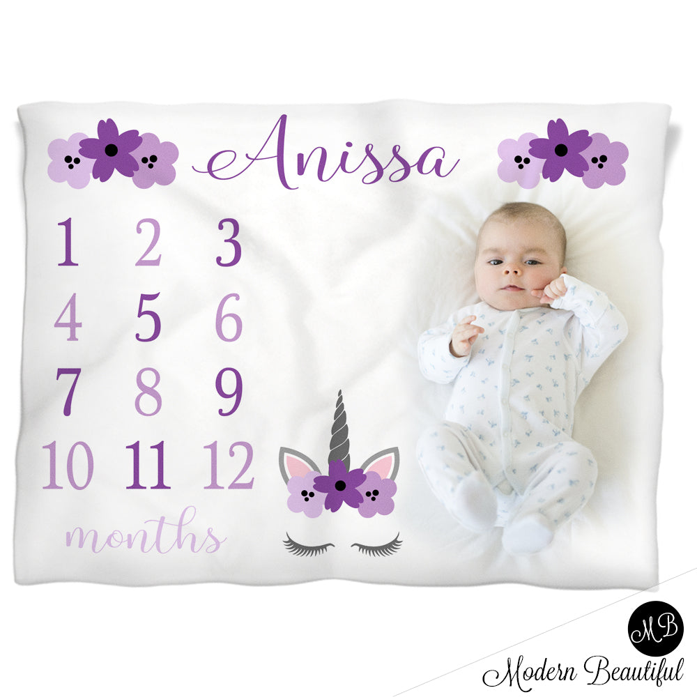 baby girl unicorn baby name blanket,