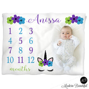 Baby girl unicorn baby name blanket, purple blue and green, unicorn lashes personalized growth baby gifts, personalized photo prop blanket - choose your colors