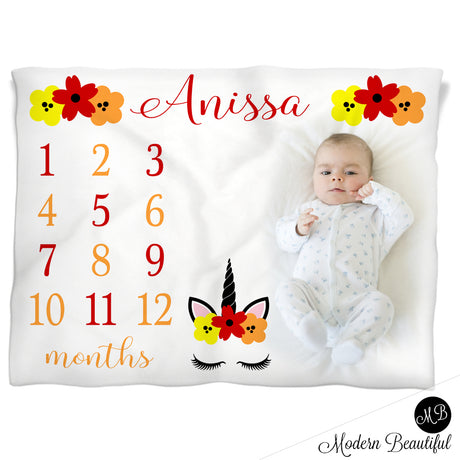 Baby girl unicorn baby name blanket, red orange and yellow, unicorn lashes personalized growth baby gifts, personalized photo prop blanket - choose your colors