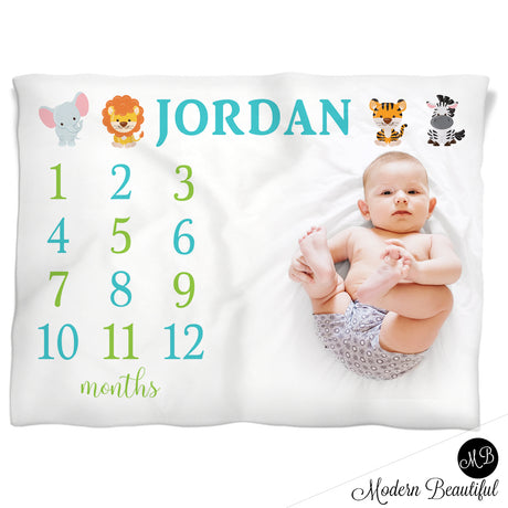 Boy monthly milestone blankets modern beautiful safari milestone boy baby blanket monthly milestone baby blanket personalized growth baby gifts personalized photo prop blanket choose your colors negle Image collections