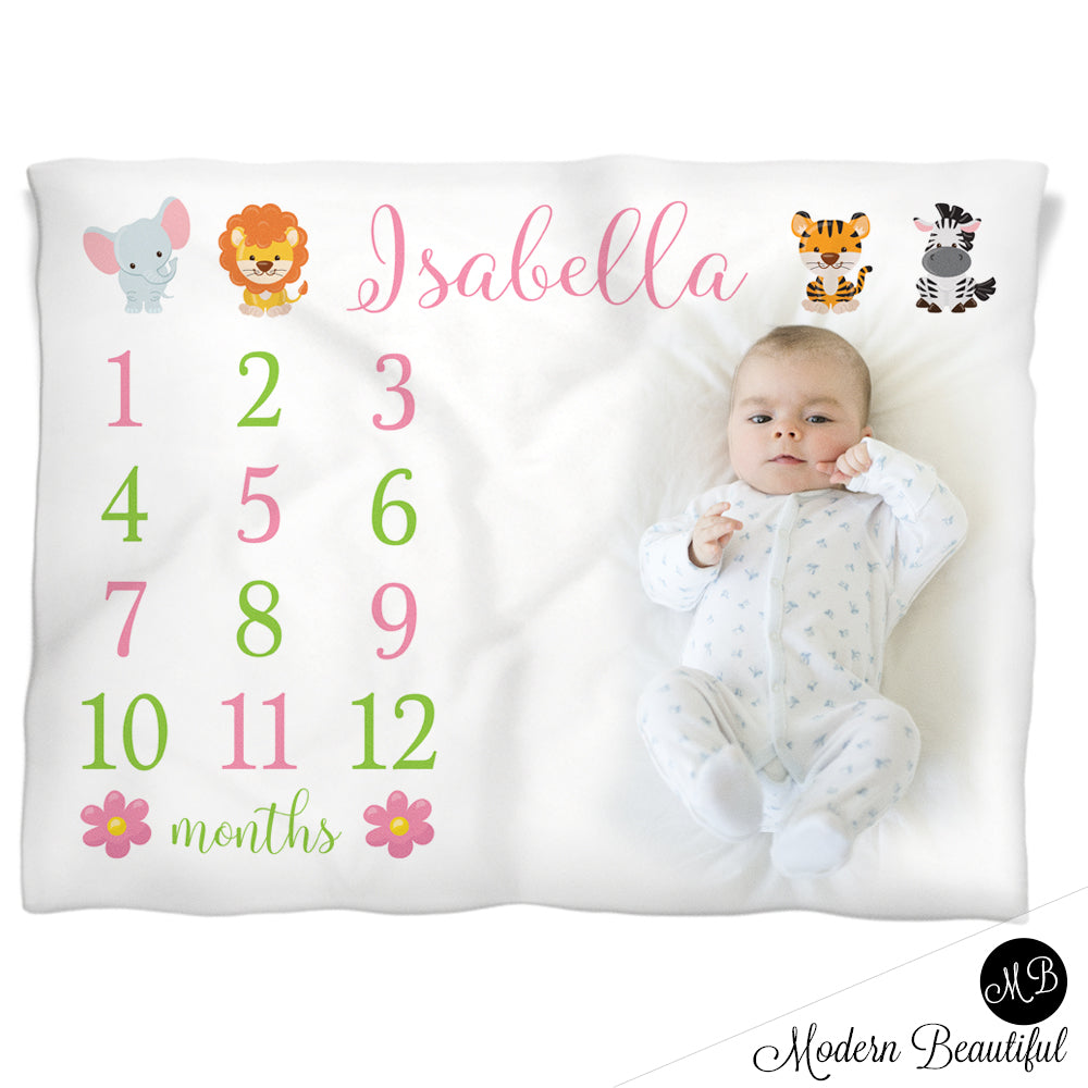 Baby girl safari monthly milestone baby blanket personalized safari baby milestone blanket negle Images