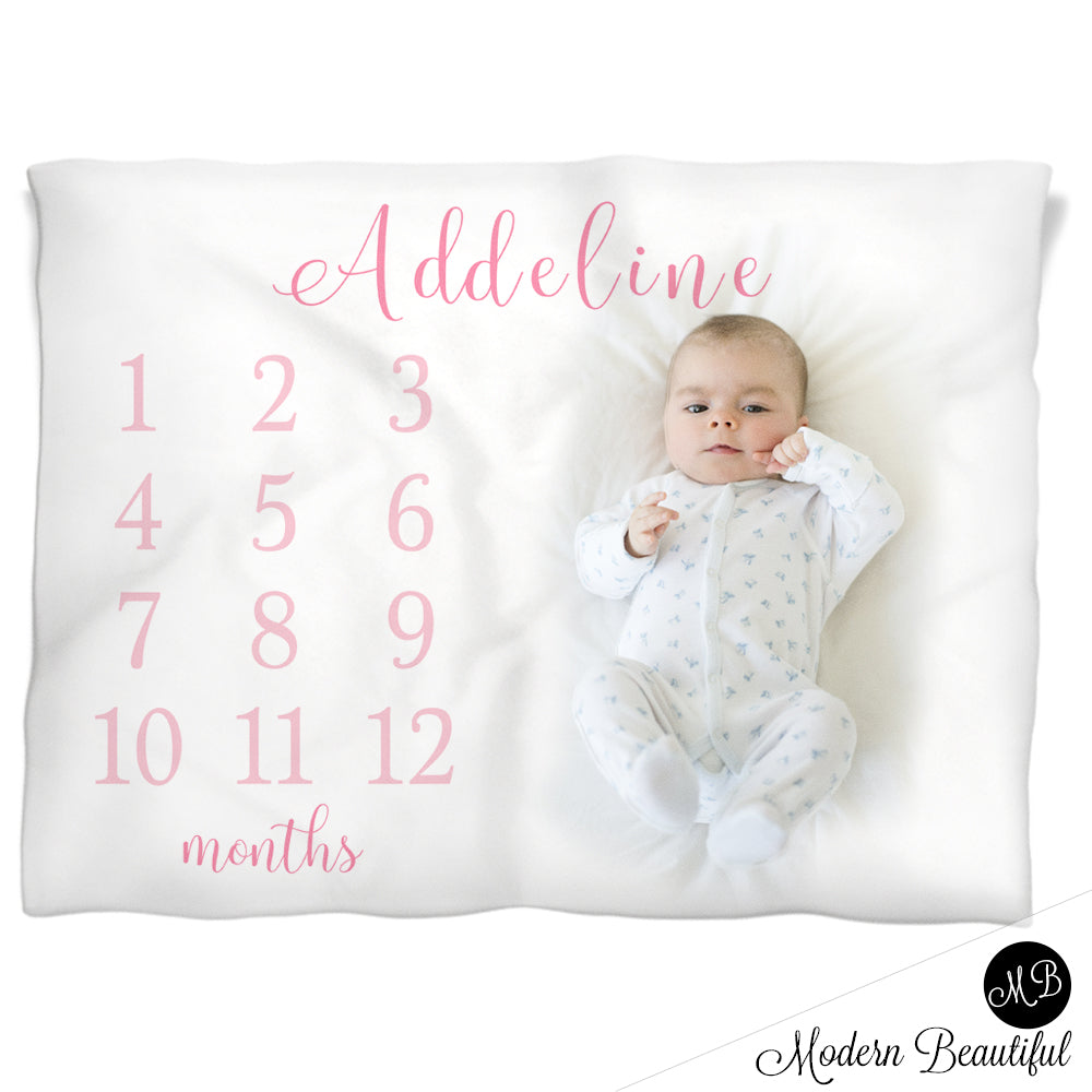 baby girl monthly milestone blanket
