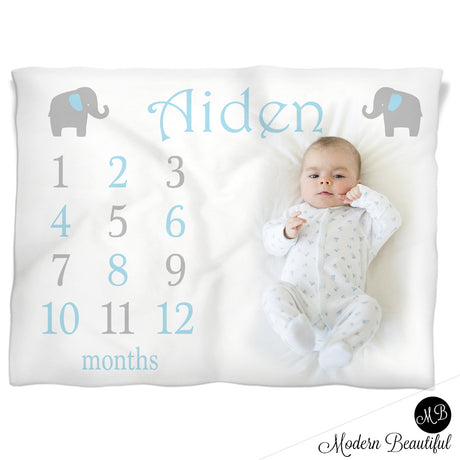 elephant Milestone Name Blanket for Baby Boy