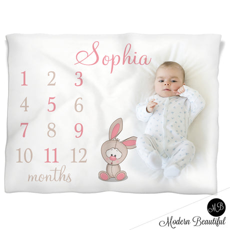 Bunny Milestone Name Blanket for Baby Girl