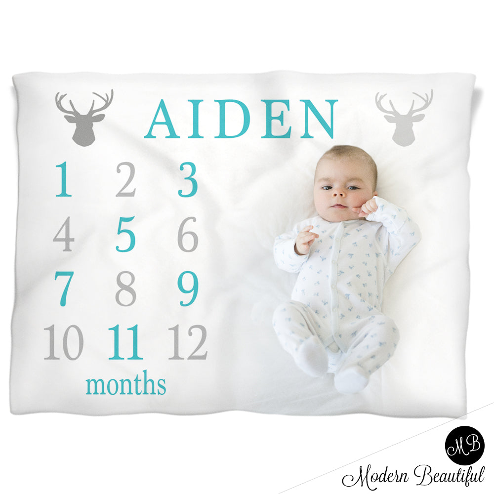 Deer antler milestone name blanket for baby boy personalized deer antler milestone name blanket for baby boy personalized growth baby gift personalized photo negle Image collections