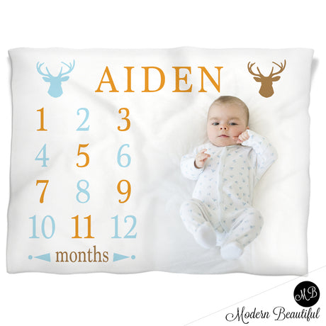 Baby Boy Deer Antler Milestone Name Blanket