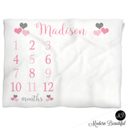 Baby girl hearts name blanket pink and gray, hearts personalized growth baby gift, personalized photo prop blanket - choose your colors