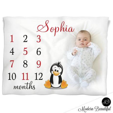 penguin baby name blanket
