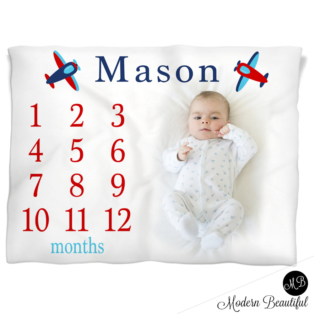 Airplane Milestone Name Blanket for Baby Boy