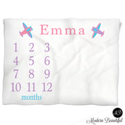 Pink and purple girl airplane baby blanket, personalized growth baby gifts, personalized photo prop blanket - choose your colors