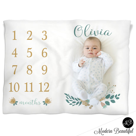 Baby girl floral baby blanket, tan and blue monthly milestone blanket, floral personalized growth baby gifts, personalized photo prop blanket - choose your colors
