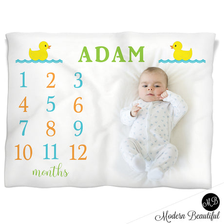 baby boy duck name blanket