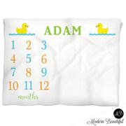 Baby Boy Duck Milestone Name Blanket, ducky personalized growth baby gift, personalized photo prop blanket - choose your colors