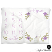 Girl floral baby blanket, purple and green monthly milestone blankets, floral personalized growth baby gifts, personalized photo prop blanket - choose your colors