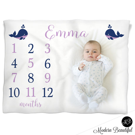 Purple and navy baby girl whale blanket, nautical whale personalized growth baby gift, personalized photo prop blanket - choose your colors