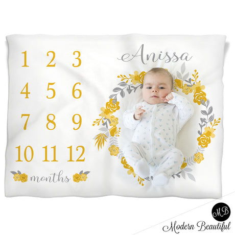 Baby girl floral wreath baby blanket, yellow and gray monthly milestone blanket, flower personalized growth baby gifts, personalized photo prop blanket - choose your colors
