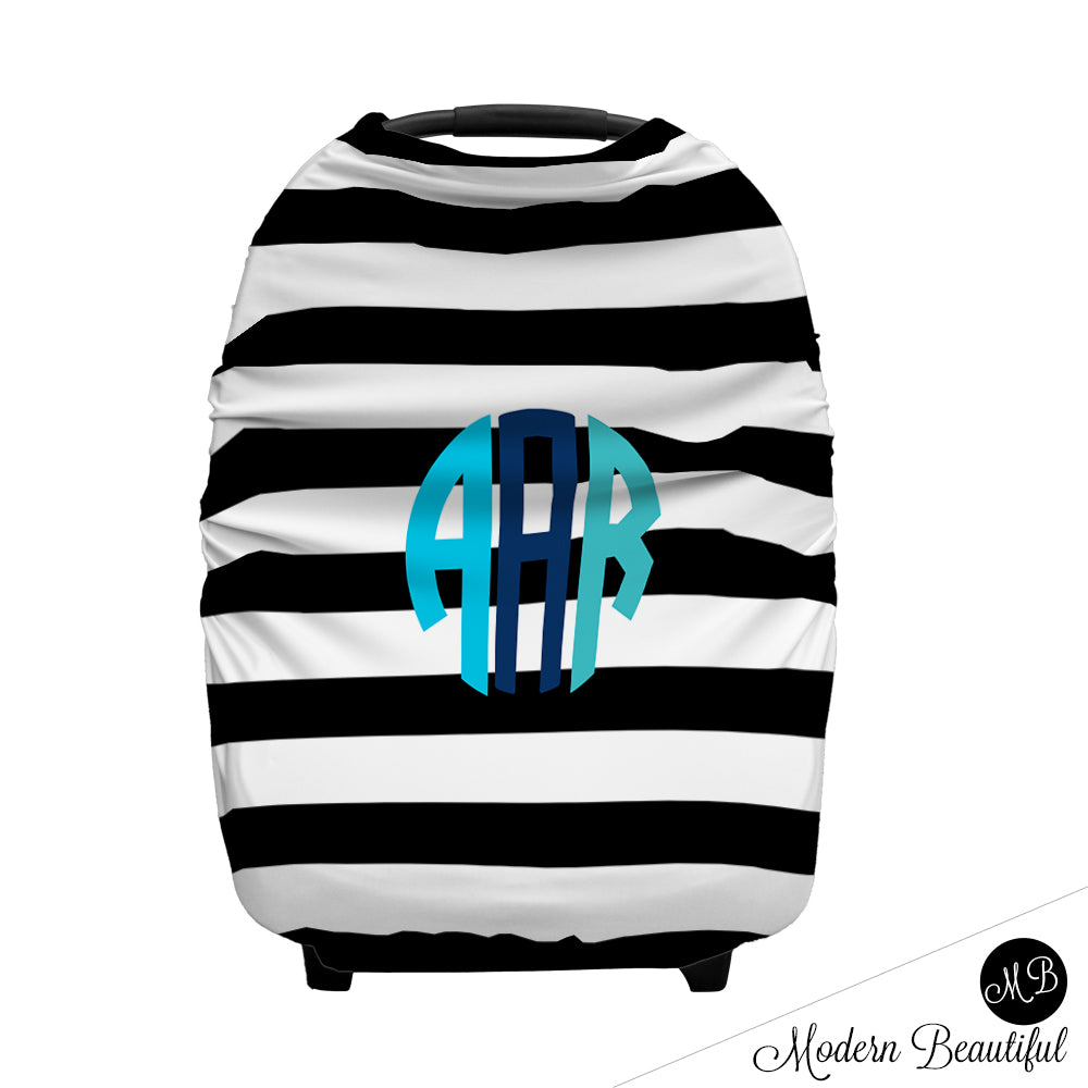 Black And White Stripe Monogram Baby Boy Or Girl Car Seat Canopy Cover Modern Beautiful