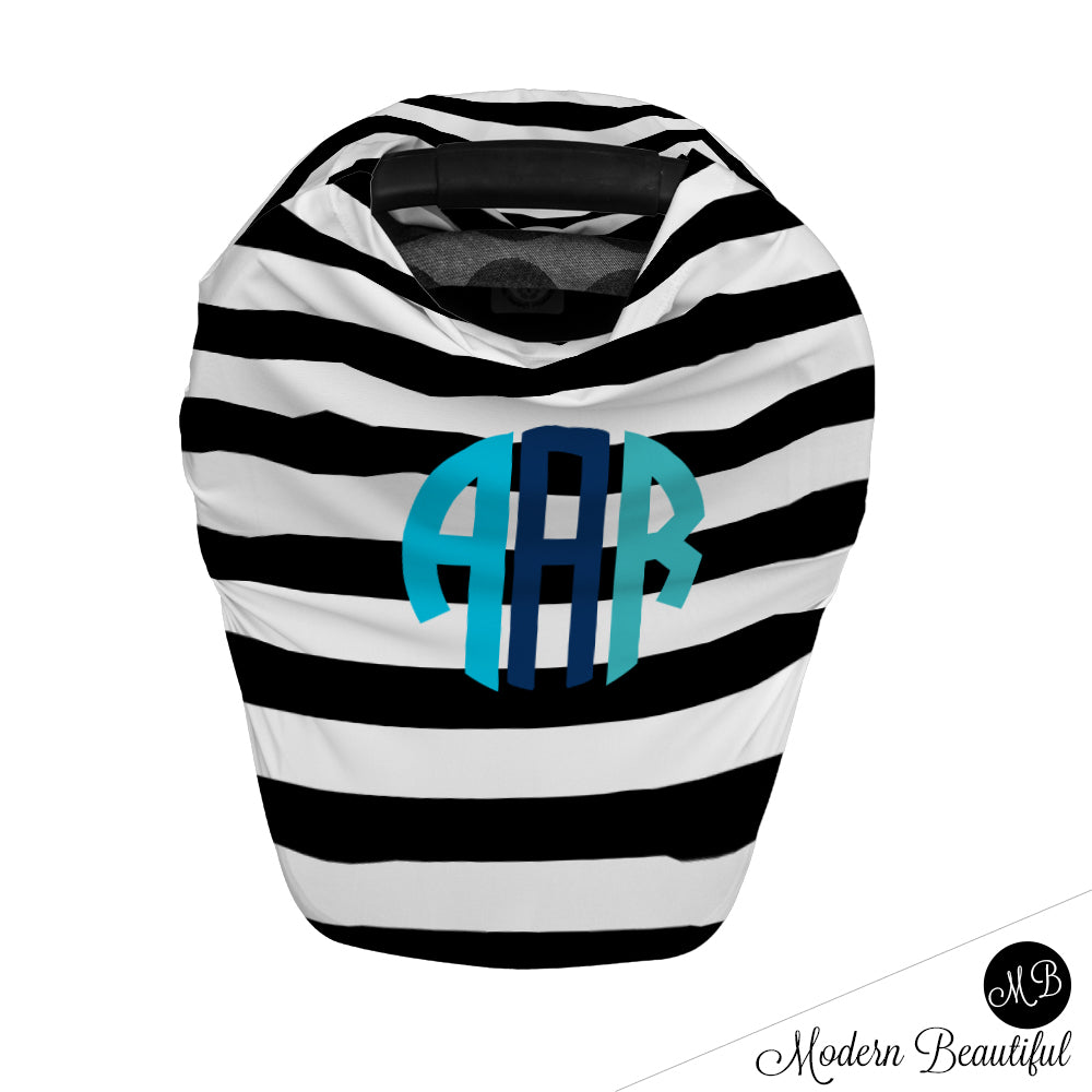 Black and white stripe monogram baby boy or girl car seat canopy cover