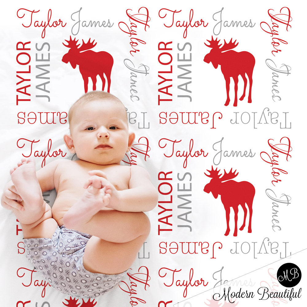 Moose baby name blanket