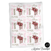 Moose girl baby name blanket, moose personalized blankets, pink and brown, boy or girl blanket, baby shower gift, personalized name blanket, (CHOOSE COLORS)