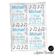 Music note baby boy stats blanket, blue and gray, music note boy baby blanket, personalized music baby blanket, baby stats blanket, boy or girl stats swaddle blanket, baby shower gift, choose colors