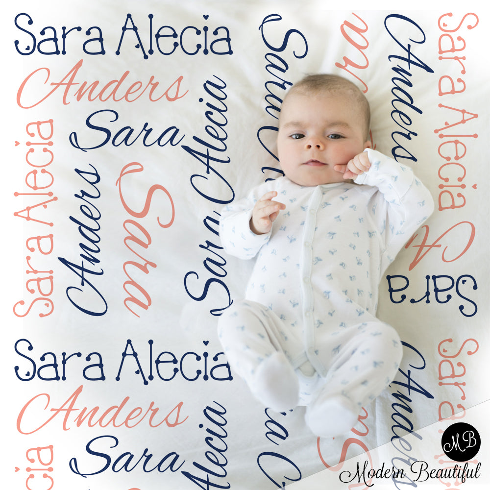 Girl Baby Name Blanket Personalized Name Blankets Navy And Coral