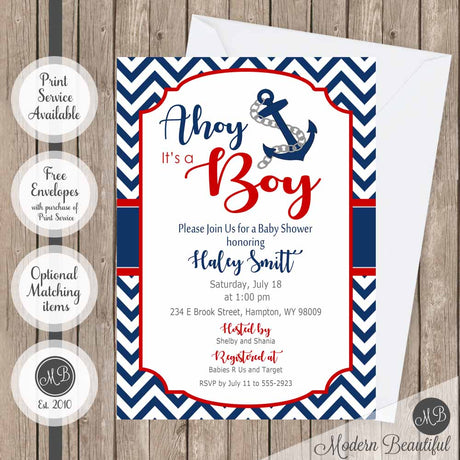 Nautical anchor ahoy its a boy baby shower invitation