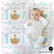 Baby girl Noah's ark name blanket