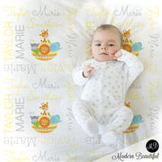 Noah's ark baby name blanket