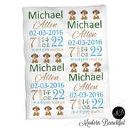Puppy baby boy stats blanket, green and brown, puppy boy blanket, personalized dog baby blanket, baby stats blanket, boy or girl stats swaddle blanket, baby shower gift, choose colors