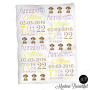 Puppy baby girl stats blanket, yellow and purple, puppy girl baby blanket, personalized dog baby blanket, baby stats blanket, boy or girl stats swaddle blanket, baby shower gift, choose colors