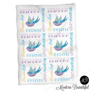 Tattoo sparrow baby name blanket, tattoo theme baby blanket, tattoo baby gift, old school, retro, rockabilly, punk, girl or boy baby blanket (CHOOSE COLORS)