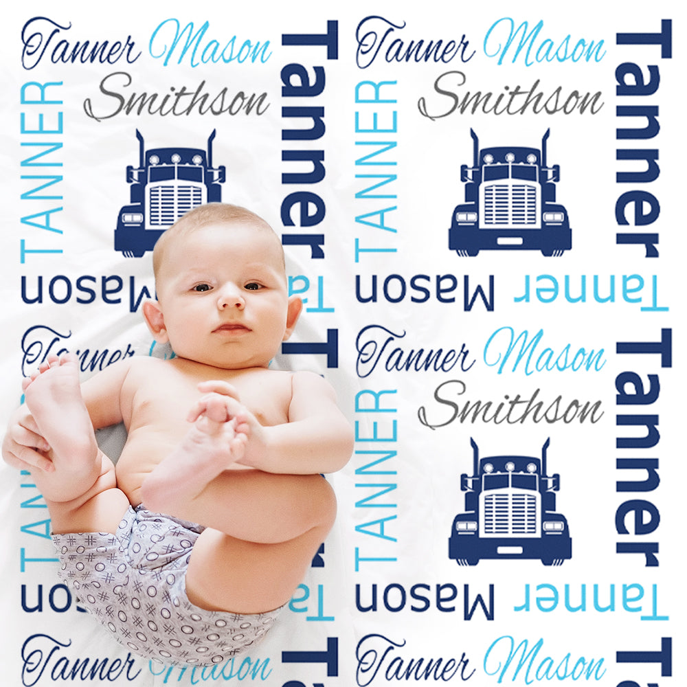 Baby boy trucker name blanket, personalized boy diesel baby gift, truck driver theme blanket, boy name blanket, personalized blanket, (CHOOSE COLORS)