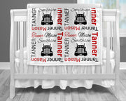 Baby boy trucker name blanket in red and black, personalized boy diesel baby gift, truck driver theme blanket, boy name blanket, personalized blanket, (CHOOSE COLORS)