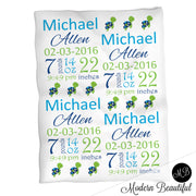 Sea turtle baby boy stats blanket, green and blue, turtle boy blanket, personalized sea turtle baby blanket, baby stats blanket, boy or girl stats swaddle blanket, baby shower gift, choose colors
