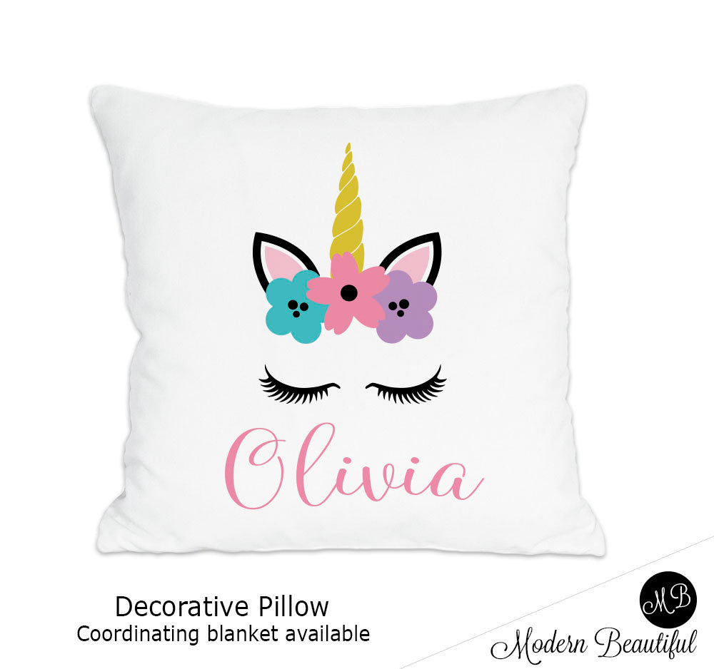 Unicorn theme throw pillow cover in pink, purple and blue unicorn nursery decor, unicorn lashes, unicorn face (Choose Colors)