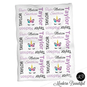Baby girl unicorn name blanket in purple and black, unicorn swaddling blanket, baby girl unicorn lashes blanket, unicorn face blanket, unicorn baby shower gift, (CHOOSE COLORS)