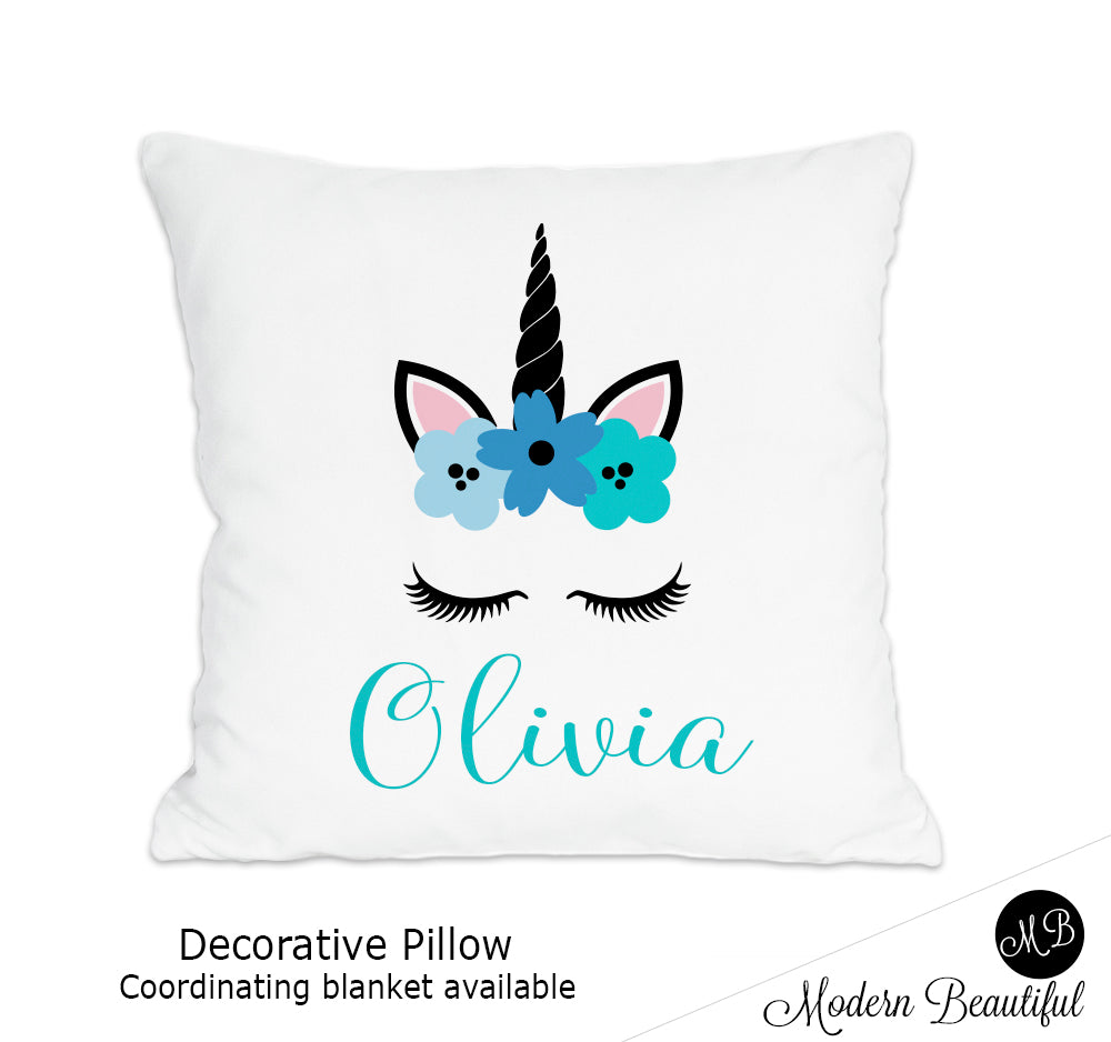 Unicorn theme throw pillow cover in blue, unicorn nursery decor, unicorn lashes, unicorn face (Choose Colors)