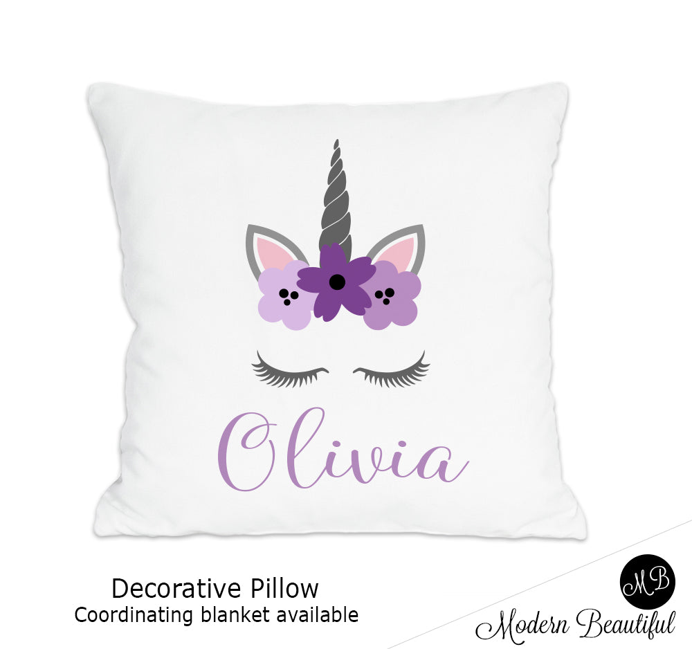 Unicorn theme throw pillow cover in purple and gray, unicorn nursery decor, unicorn lashes, unicorn face (Choose Colors)