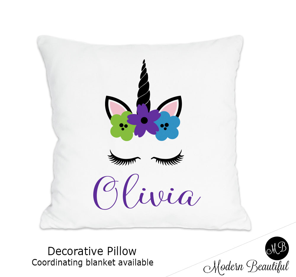 Unicorn theme throw pillow cover in purple, green and blue, unicorn nursery decor, unicorn lashes, unicorn face (Choose Colors)