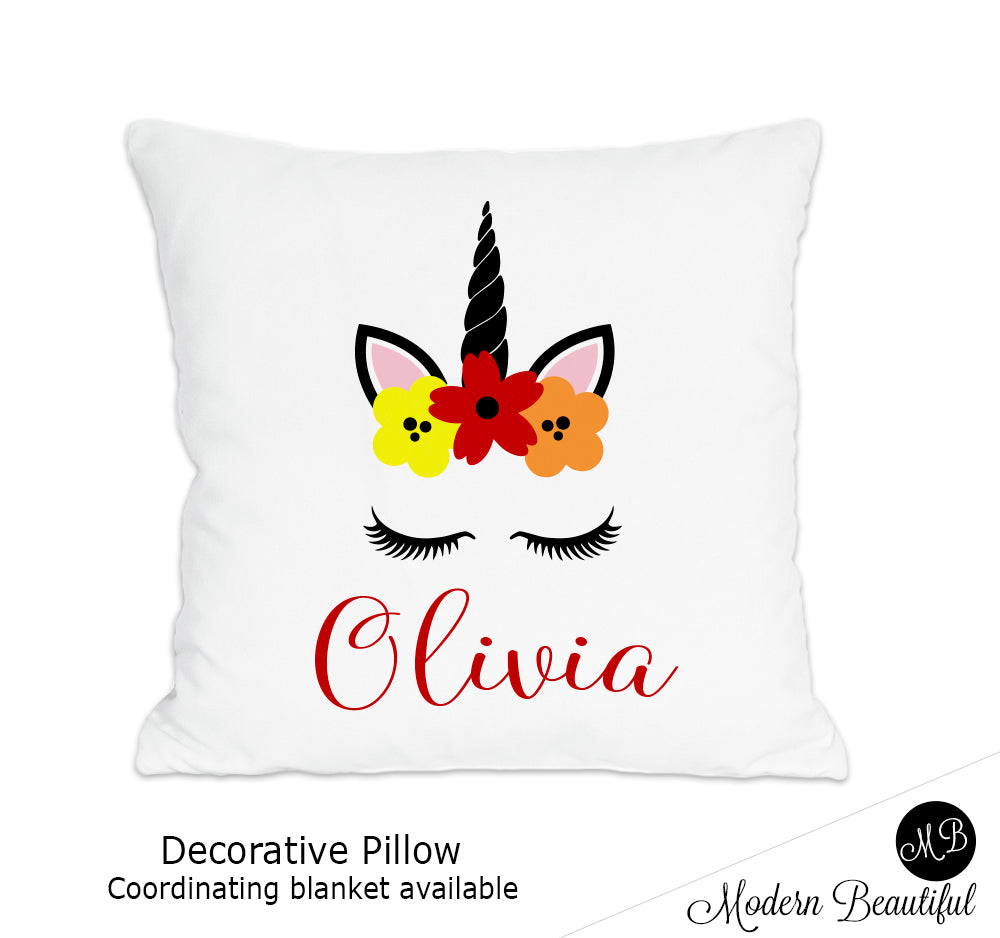 Unicorn theme throw pillow cover in red, orange and yellow, unicorn nursery decor, unicorn lashes, unicorn face (Choose Colors)