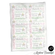 Baby girl unicorn name blanket in mint, pink and gray, unicorn swaddling blanket, baby girl unicorn lashes blanket, unicorn face blanket, unicorn baby shower gift, (CHOOSE COLORS)