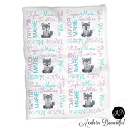Wolf name blanket in purple and aqua for baby girl, girl wolf swaddling blanket, baby girl wolf blanket, wolf blanket, wolf baby shower gift, (CHOOSE COLORS)