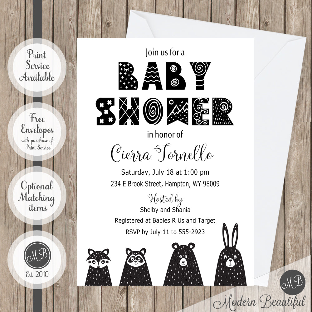 Black and white baby shower invitation, woodland animal baby shower ...