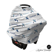 Airplane baby boy or girl car seat canopy cover, airplane baby gift, blue and gray custom infant car seat cover, personalized baby name carseat cover, nursing privacy cover (CHOOSE COLORS)