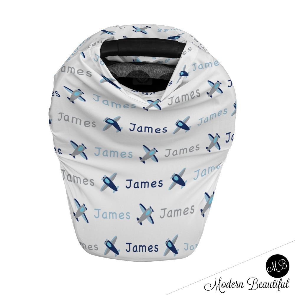 Airplane baby boy or girl car seat canopy cover