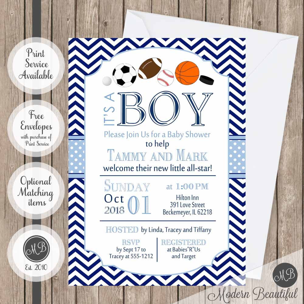 Navy and blue baby shower invitation, baby boy all star shower ...