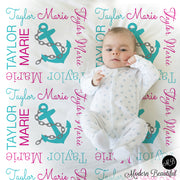 Nautical anchor name blanket in teal and magenta