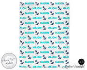 Nautical baby boy blanket, aqua and navy, anchor name blanket, custom nautical personalized baby gift, swaddle baby blanket, personalized blanket, boy or girl blanket, choose colors